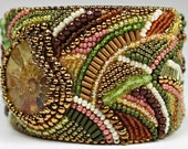 Ammonite Bracelet - Beaded Embroidered Unique Bold Big Statement Cuff in Green Gold & Pink Fossil Jewelry