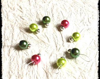 Snag Free Stitch Markers Small Set of 8 - Pink and Green Glass Pearls -- K66 -- Up to size US 8 (5.0mm) Knitting Needles
