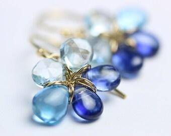 Blue Topaz Earrings, Flowers in Kyanite, Swiss Blue Topaz and Sky Blue Topaz. gift for her.