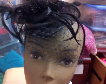 Black Sinamay Rosette Fascinator with Veil on Headband