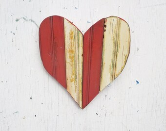 Red Mosaic Heart, Nursery Decor, Wood Wall Art, Reclaimed Wood Art Boho Heart Mosaic Wood Heart, Country Decor, Rustic Nursery Art