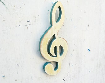 Wooden G Clef, Musician Gift Recycled Musical Art, Wood Treble Clef Music Wall Art, Music Teacher Gift, Reclaimed Wood Art, Musician Gift