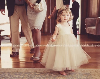 Natural Champagne Flower Girl Dress
