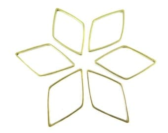 Raw Brass Diamond Shape Wire Charms (24x) (K201-A)