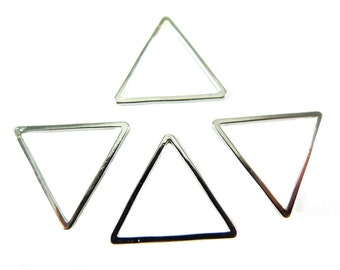 Small Rhodium Plated Triangle Shape Wire Charms (16x) (K207-B)