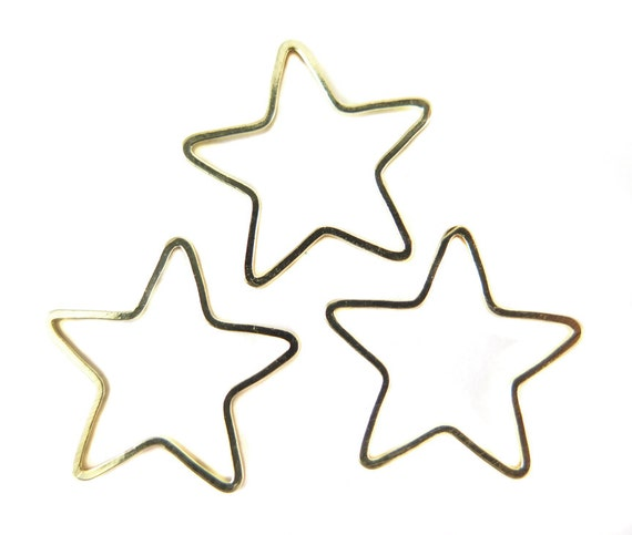 Gold Plated Star Shape Wire Charms - (12x) (K203-C)
