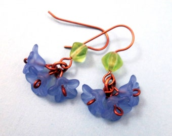 Flower Earrings, Blue Blossoms, Green Glass and Copper Dangle Earrings, FREE Shipping U.S.