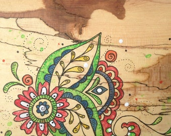Watercolour on Spalted Beech