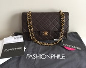 Authentic Chanel Lambskin Double Flap Medium Chocolate Brown Gold Hardware