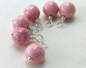 Pink Riverstone Charm Dangles, Silver Wire Wrapped 8mm (6pcs) Beaded Dangles Handmade Components, Jewelry Making
