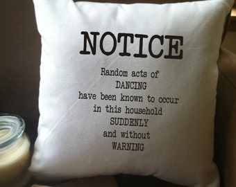 Random acts of Dancing decorative throw pillow cover