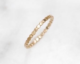 Orbit Band 14k Recycled Yellow Gold Textured Ring, Boho Minimalist Geometric Stacking Ring, Hammered 14k Gold Beaded Wire