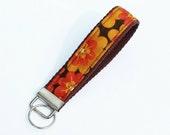 Key Fob - Key Lanyard - Wristlet Lanyard - Fabric Keychains - Wristlet Lanyard - Autumn Fall Flowers