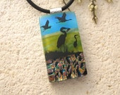 Heron Jewelry, Heron Necklace, Dichroic Jewelry, Dichroic Pendant, Glass Jewelry, Heron Necklace, Silver/Black Necklace Included, 090715p100