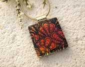 Dichroic Jewelry, Dichroic Necklace, Fused Glass Jewelry, Red Necklace, Necklace Included, Fused Glass Necklace, Gold Necklace, 091315p102