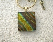 Golden Necklace, Fused Glass Pendant, Dichroic Fused Glass Jewelry, Earthtone Necklace, Gold Necklace, Striped Necklace  091315p104