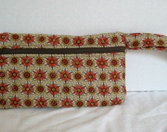 Fall Quilted Wristlet - Brown Orange Floral Print - Wrist Style Purse - Wallet with Strap - Cellphone Purse
