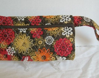 Fall Quilted Wristlet - Brown Red Orange Floral Print - Wrist Style Purse - Wallet with Strap - Cellphone Purse - Fall Small Purse