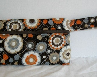 Fall Quilted Wristlet - Brown Orange Grey Floral Print - Wrist Style Purse - Wallet with Strap - Cellphone Purse - Small Fall Floral Purse
