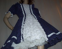 Blue Ruffle Sissy Dress Halloween Costume Circle Skirt Dress Puffy Square Dance Vintage Cotton Adult XL Dress Blue Floral Oktoberfest Dirndl