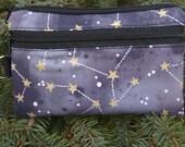 Constellations mini wallet, purse organizer, wristlet, Sweet Pea, Pick your color