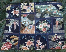 Japanese portfolio, large zippered bag, zippered portfolio, Japanese Faux Patchwork, The Pippa
