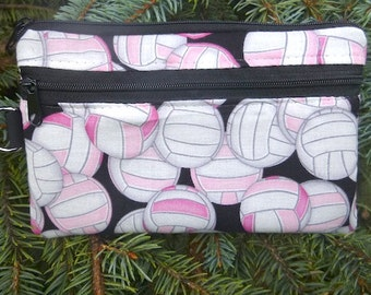Volleyball mini wallet, purse organizer, wristlet, Pink Volleyballs, Sweet Pea