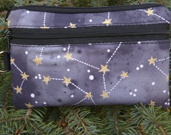Constellations mini wallet, purse organizer, wristlet, Pick Your Color, Sweet Pea