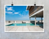 Architecture photography Le Corbusier Marseilles Provence paddling pool modernist Summer wall art France French poster big print