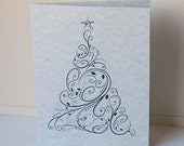 Christmas Tree Cards, Blank Note Cards, Christmas Card Set, Holiday Note Cards, Black Silver Tree, Thank You Cards, Holiday Card, Note Cards