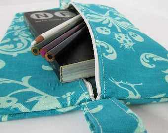 Slim Zip Case .. for neccessities or frivolities .. medium size pouch in blue damask