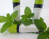 MINTY DUO Vegan Lip Balm Unisex with Natural Spearmint and Peppermint Oils