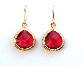 Ruby teardrop Earrings - Ruby Earrings - Teardrop Earrings - Red Earrings - Red Dangle earrings - Ruby Dangle Earrings - Ruby Jewelry