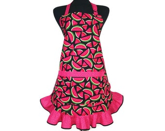 Watermelon Apron for Women with ruffle, Adjustable with Pocket, Red and Black Retro Ktichen Decor