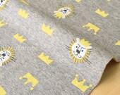 Japanese Fabric Kiyohara French Terry Fleece - lion king - grey, yellow - 50cm