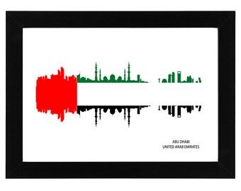 Abu Dhabi city skyline with flag of the United Arab Emirates