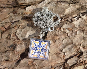 """Blue and Yellow Painted Flower - Spanish Tile Silver plated 18"""" necklace"""