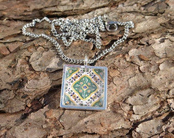 Decorative Green Floral Mexican / Spanish Tile Silver plated Necklace