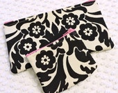 Damask Gift Set - Matching Damask Cosmetic and Change Zipper Pouches - Black and White Damask - Damask Gift for Her - Handmade Gift Under 20