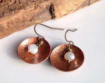 Etsy, Etsy Jewelry, Copper Disc Earrings, Freshwater Pearls, Dangle Earrings, Textured Earrings