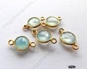 13mm (6mm Stone) Aqua Chalcedony Tiny Gold Bezel Gemstone Connectors F391 - 5 pcs