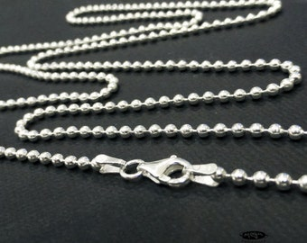 24 in 2.2mm Italian Bead Chain 925 Sterling Silver Ball Chain Finished Necklace- FC5