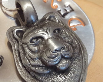 WHO DEY Bengal tiger hand stamped aluminum key fob keychain