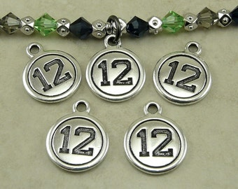 5 TierraCast Number 12 Round Charms > Seattle Seahawks 12th Player Football Fan - Lead Free Silver Plated Pewter I ship internationally 2427