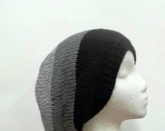 Knitted slouch hat black gray large size oversized beanie   5087