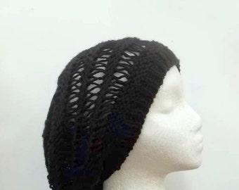 Open weave handmade slouchy beanie hat  4828