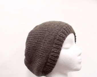 Warm knitted beanie hat brown for men or women  5034
