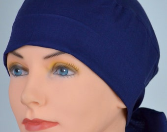 Surgical Scrub Hat Chemo Cap- The Mini with Fabric Ties -Navy