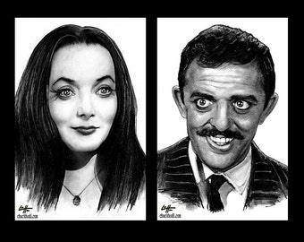 "Prints 11x17"" - Morticia and Gomez Addams - The Addams Family Wednesday Classic Dark Art Comedy TV Horror Gothic Mustache Lurch Halloween"