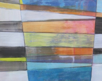 "Rhythm and Hues l contemporary abstract painting on paper 18"" x 12"""